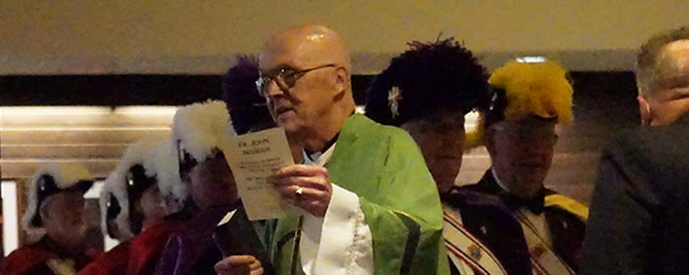 Fr. John prepares to process into church at his 50th Jubilee Mass in 2016